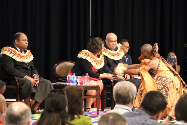 Western and Central Pacific Fisheries Commission Chair Rhea Moss-Christian receives kava during the opening of the commission's annual meeting Monday at the Sheraton Fiji Resort.