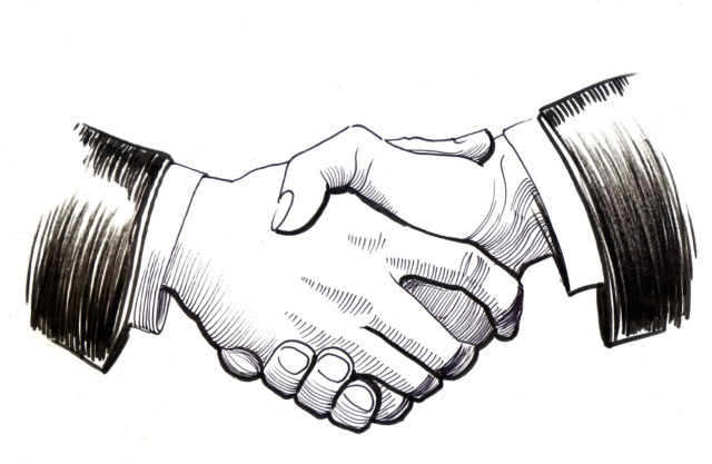 Hand-drawn retro style sketch of a handshake business agreement. black-and-white ink sketch
