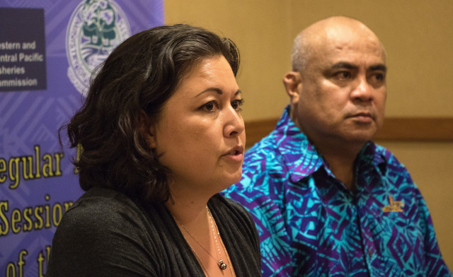 Western and Central Pacific Fisheries Commission Chair Rhea Moss-Christian, left, and Executive Director Feleti Teo said Friday night they were pleased with the progress made during the annual meeting on international tuna management and conservation policies.