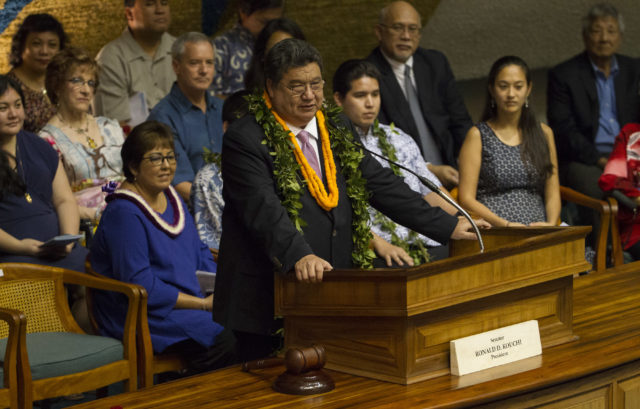 Senate President Ronald Kouchi speaks before the Senate to open the 2017 Legislation session at the Hawaii State Capitol, Wednesday, Jan. 18, 2017, in Honolulu. Photo by Eugene Tanner/Civil Beat