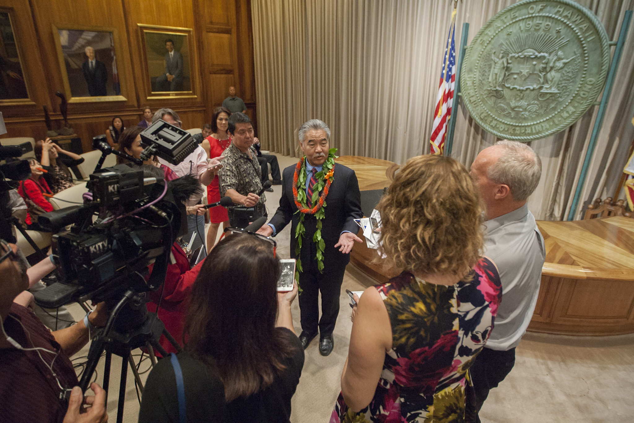 <p>Gov. David Ige holds a press conference after the Legislature's opening day festivities.</p>