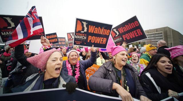 Hawaii marchers 2017 Womens March Washington DC as marchers head towards The Mall. 21 jan 2017