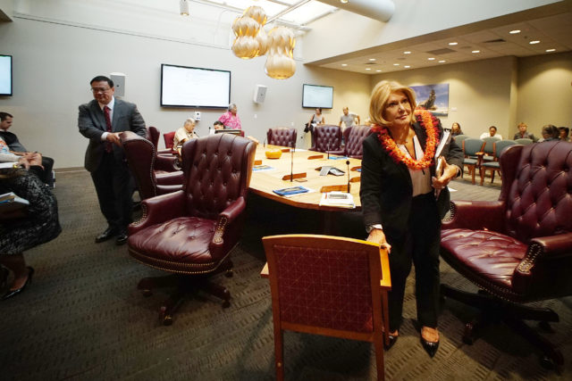 OHA Chair Rowena Akana walks out with Trustee Kealii Akina. Moments earlier, handful of trustees walked out, losing quorum over a public testimony issue. 12 jan 2017