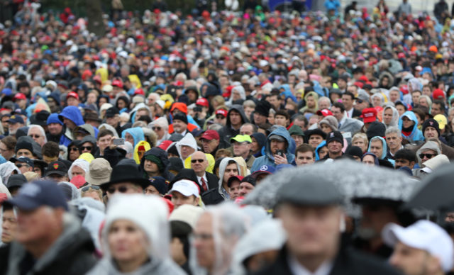 Thousands of people crowded The Mall near the Capitol building to support the Trump Inauguration 2017. 20 jan 2017
