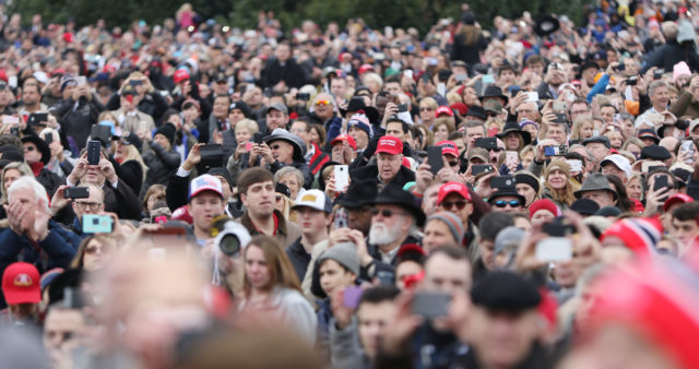 Trump Inauguration 2017 supporters crowds near the Capitol Building. Washington DC. 20 jan 2017