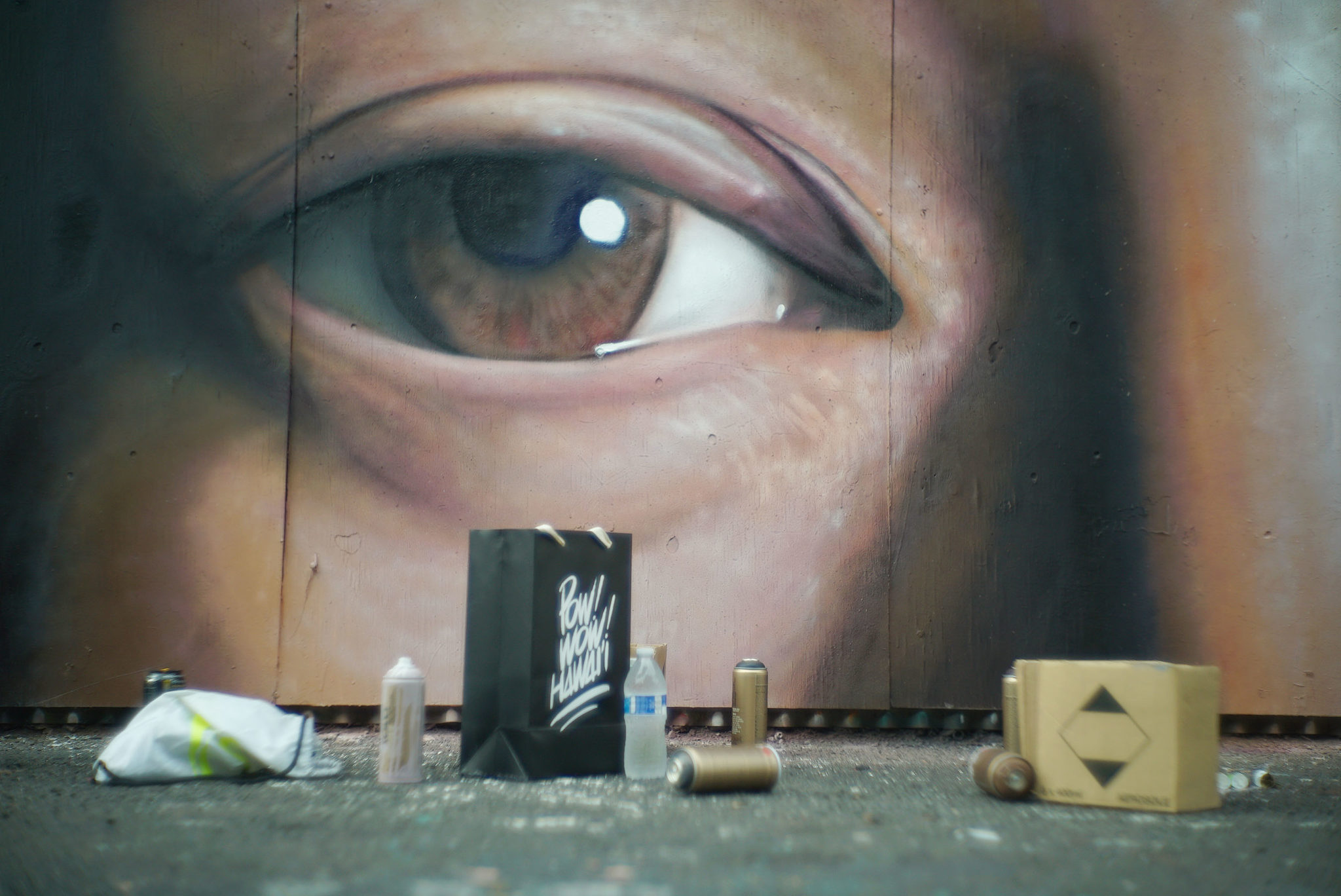 <p>Drew Merritt painted a giant eye for this year's POW!WOW! Hawaii event that continues through Saturday. The street mural festival originated in Hong Kong in 2010, but Hawaii now hosts the flagship event.</p>