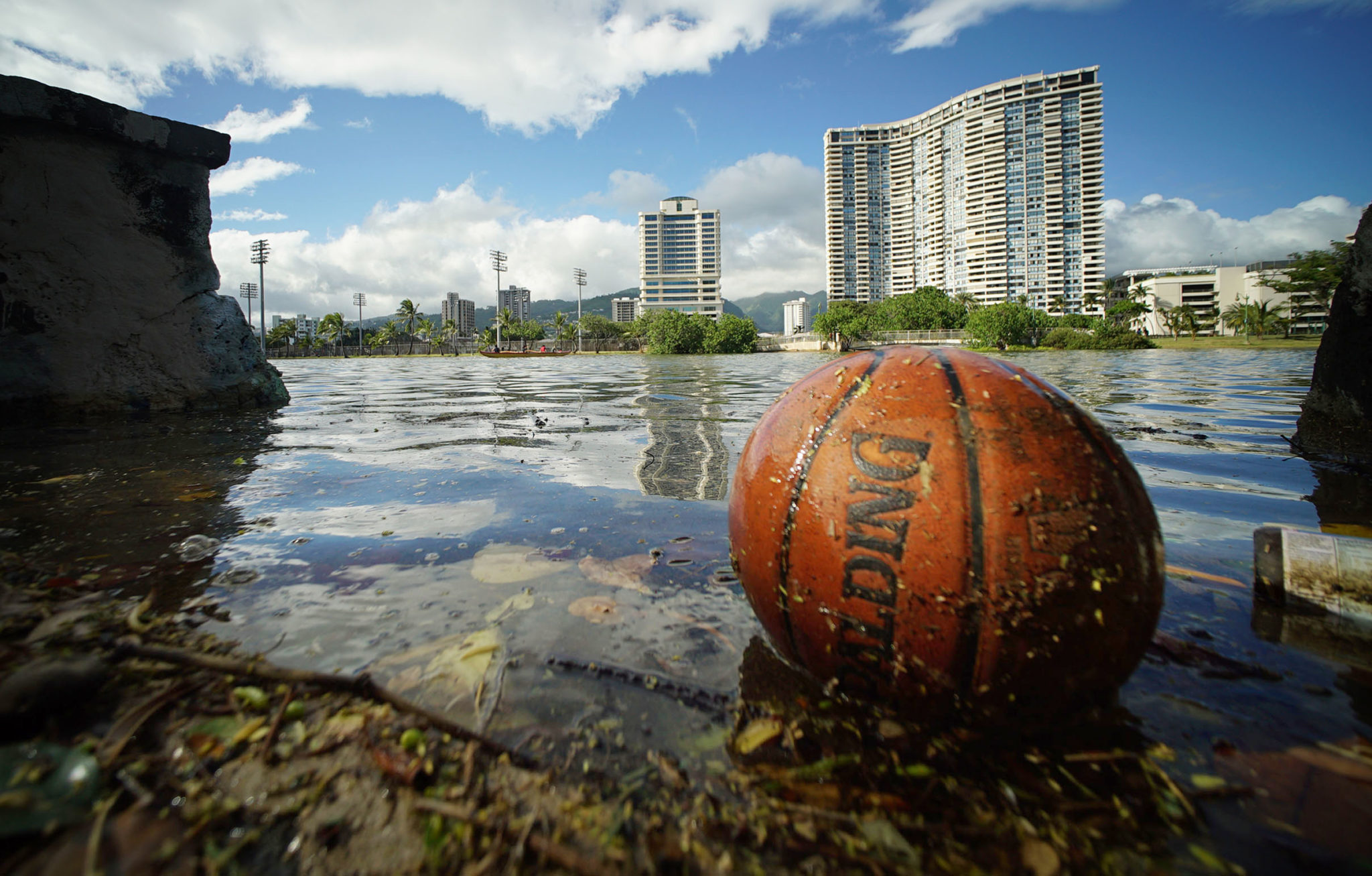 <p>Floating debris along the Ala Wai Canal during a king tide Wednesday. High-water conditions are expected to continue through the weekend.</p>