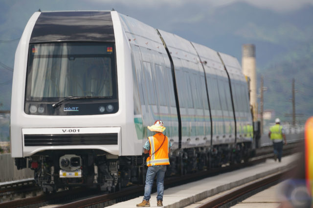HART rail guideway car photo op Farrington Hwy Waipahu Sugar Mill train. 30 may 2017