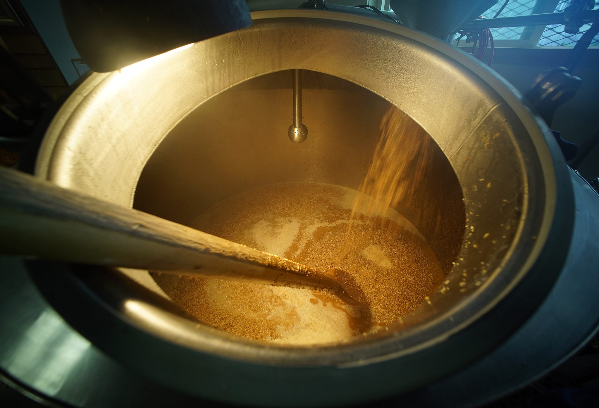 <p>The view from atop the mash tun vessel.</p>