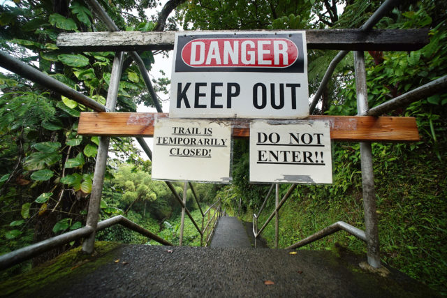 Hawaii Island Big Island Danger keep out trail closed Akaka Falls. 17 may 2017