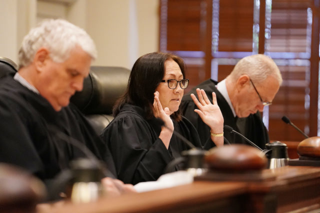 Hawaii State Supreme Court Associate Justice Sabrina McKenna questions attorney's during oral arguments Civil Beat vs city. 1 june 2017. photograph by Cory Lum/Civil Beat