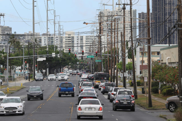 Dillingham Boulevard looking towards Costco near Honolulu Community College. Kapalama area.