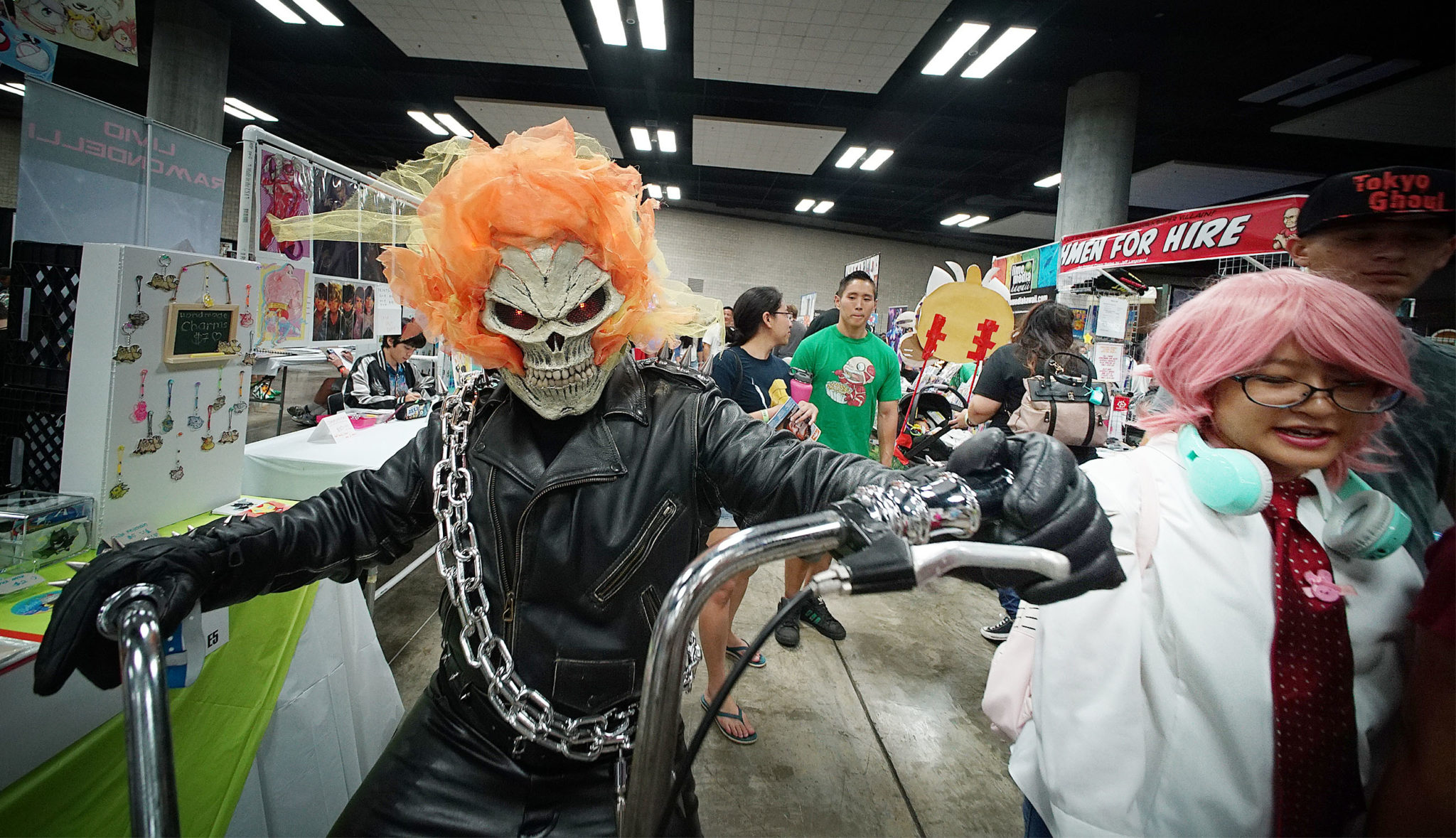 <p>The Ghost Rider — in this case James Ishizaki from Mililani — rides his bike through the Hawaii Convention Center during the 2017 Amazing Hawaii Comic Con, which was held Friday through Sunday.</p>