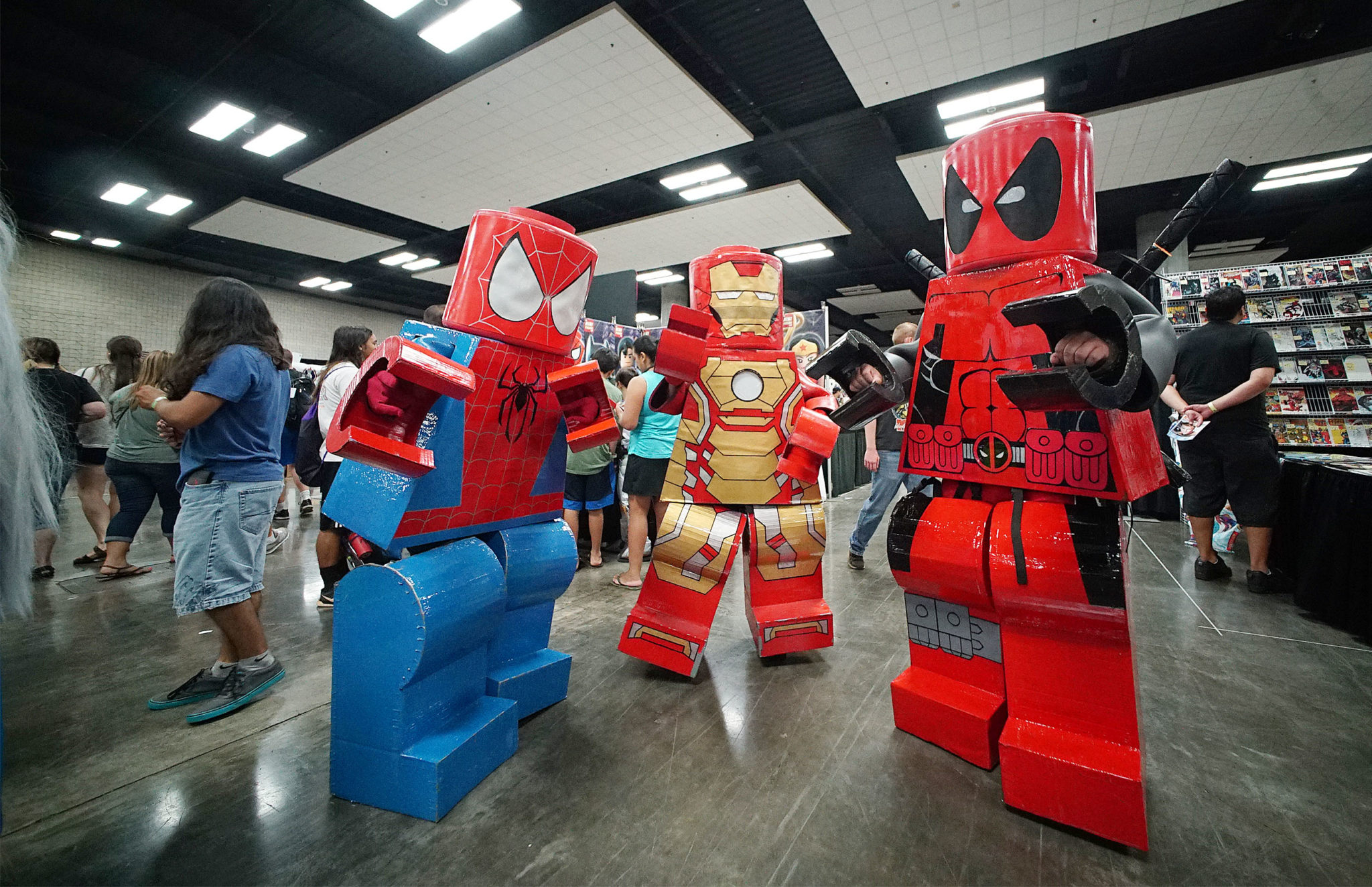 <p>Large Lego versions of Spiderman and Iron Man mingled with attendees. More than 100 comic book vendors were on hand, along with about 150 comic book artists.</p>
