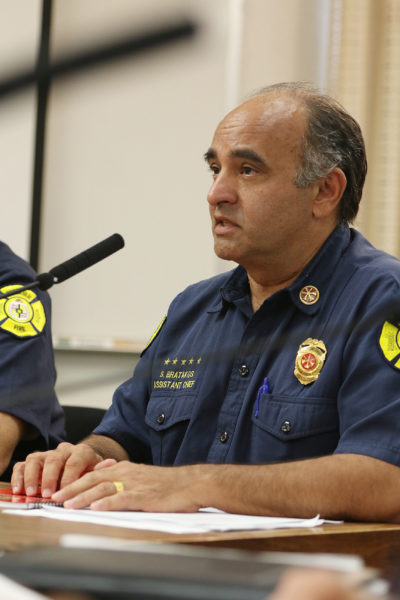 HFD asst Chief Socrates Bratakos speaks in support of Bill 69 during city council meeting.