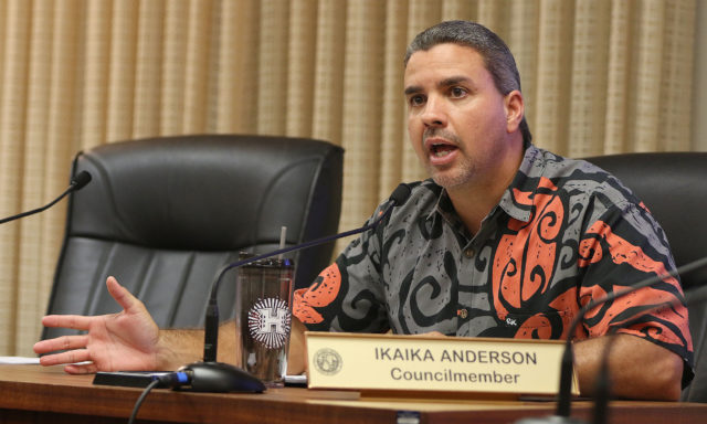 Honolulu City Council Vice Chair Ikaika Anderson during discussions of Bill 69.