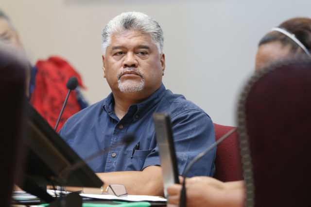 Ka Pouhana Kamanaopono Crabbe during OHA meeting listens to public testify during public meeting.