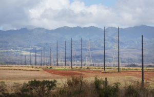 Hawaiian Electric power poles going thru Kunia Road Monsanto leased land.