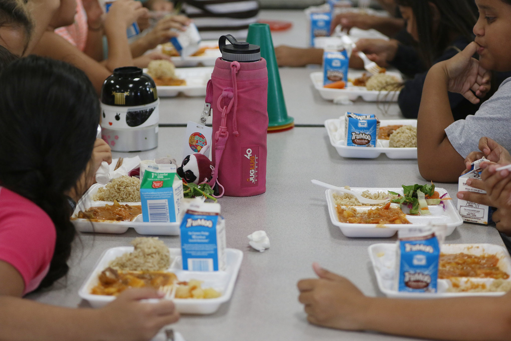Ala Wai Elementary school students enjoy beefstew during lunch.