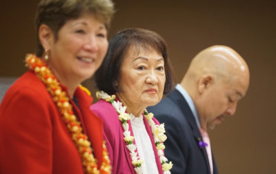 Honolulu City Council member Ann Kobayashi with left, member Carol Fukunaga.