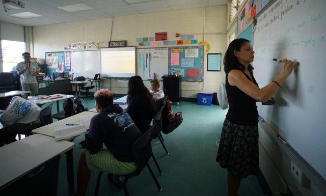 Kailua Intermediate School Teacher Jimmy Lee team teaches with colleague Ms. Maldonado.