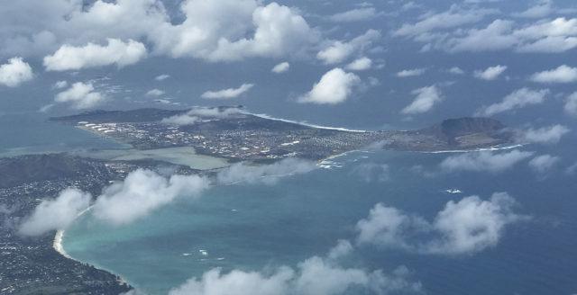Marine Corps Base Hawaii and Kaneohe Bay with bottom left, Kailua Beach.