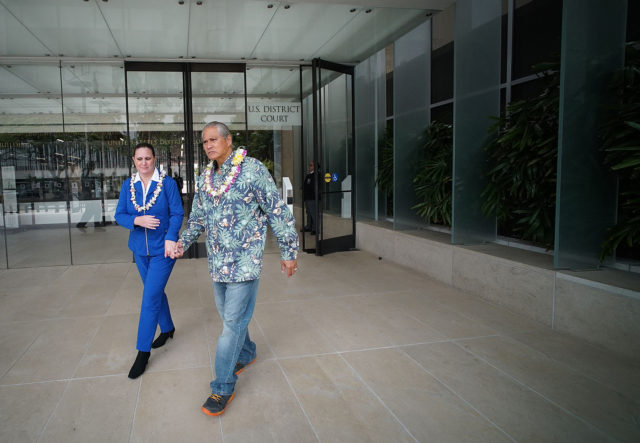Retired HPD Chief Louis Kealoha and wife Katherine Kealoha exit US District Court.