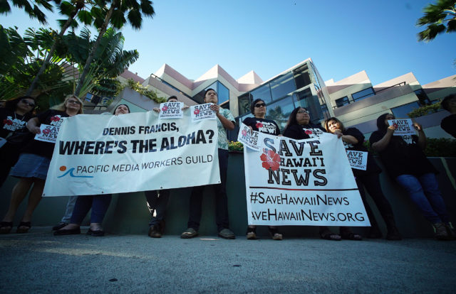 Save Hawaii News demonstration by Star Advertiser staffers and supporters outside Restaurant Row.