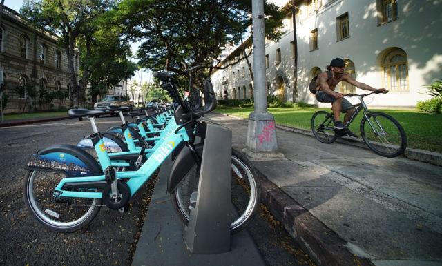 BIKI bike sstand on Mililani Street, downtown Honolulu near the Post office.