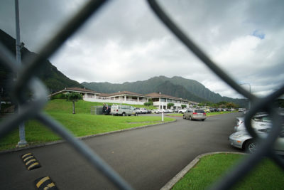 Fence runs along some of the Hawaii State Hospital's bordering area with the Windward Community College campus. The fence ended on the Kahaluu side along where the road met up with the road that runs thru Windward Community College.