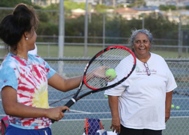 Kalihi Tennis Coach Vailima Watson coaches at Kalihi District Park with her husband Jerry Watson.