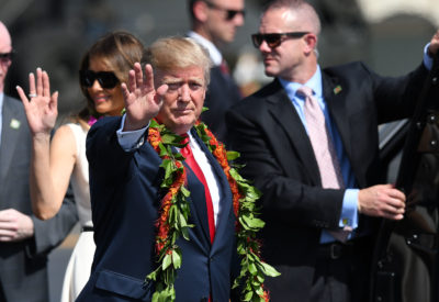 President Donald Trump arrives to Joint Base Hickam Pearl Harbor.