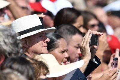 Representative Gene Ward photographs President Trump in hawaii at Joint Base Hickam Pearl Harbor.