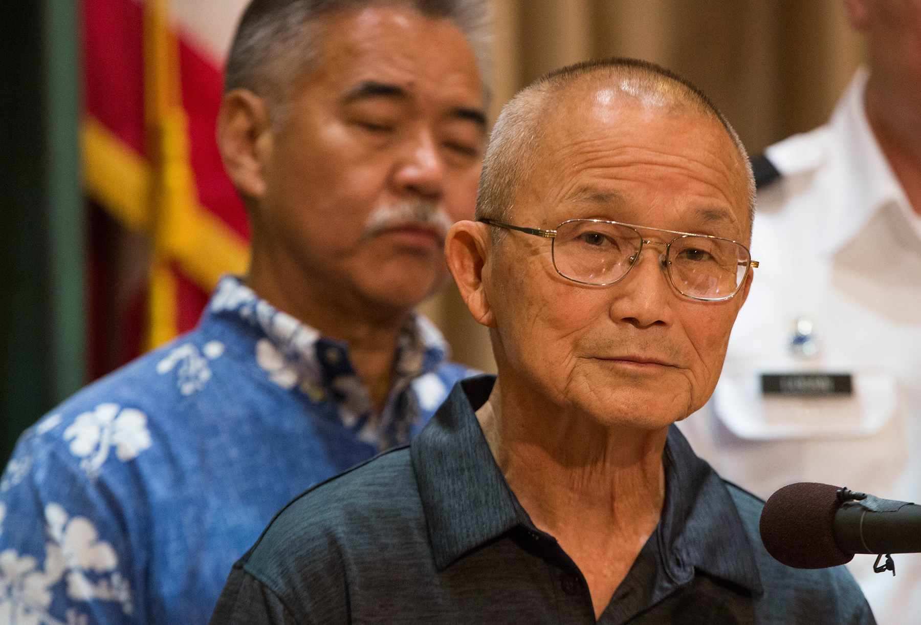 <p><strong>AFTERMATH:</strong> It was left to Gov. David Ige, left, and Vern Miyagi, head of the Hawaii Emergency Management Agency, to try to explain what happened at a news conference two days later. Miyagi soon resigned, and Ige's re-election prospects appeared bleak. / Anthony Quintano.</p>