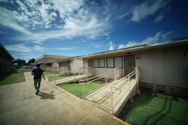 Campbell High School portable classrooms one of 44 portable structures on the campus of the largest student populations in the state of Hawaii.