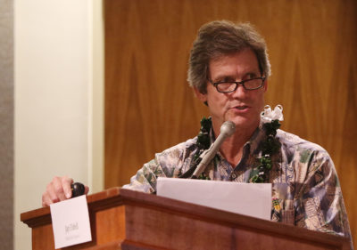 Chip Fletcher Associate Dean School of Ocean and Earth Science and Technology during the Hawaii Energy Policy Forum held at the Capitol auditorium.