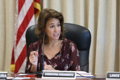 DOE Superintendent Christina Kishimoto during DOE board meeting.