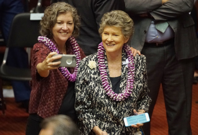 Left, Senator Laura Thielen and mom, Rep Cynthia Thielen before Gov. Ige's State of the State address.