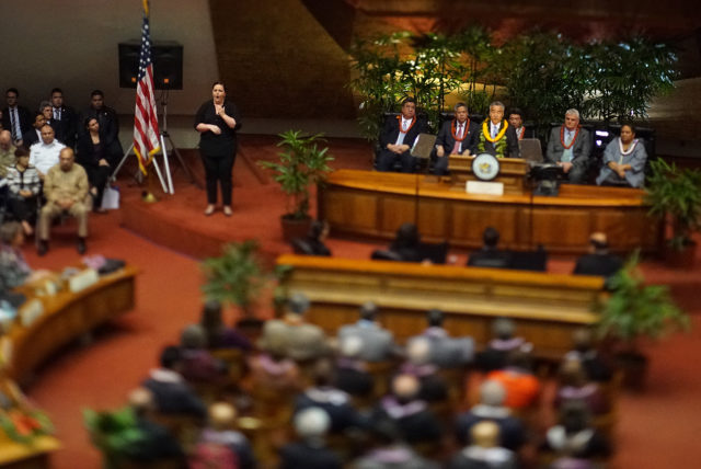 State speech by Governor David Ige.  tilting lens used.