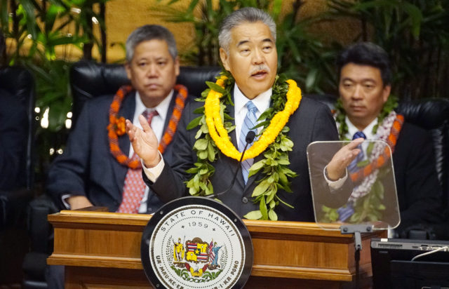 Governor Ige State of State gestures with left, Speaker Saiki and right, Lt Gov Shan Tsutsui.