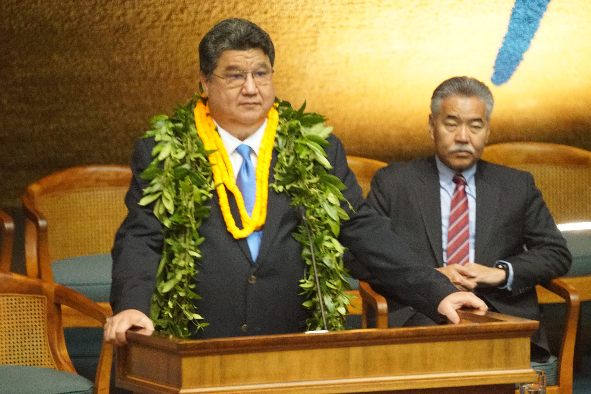 <p>Senate President Ron Kouchi with Gov. Ige were on hand as the Senate convened. Kouchi talked mostly about education while Ige was still fielding questions about Saturday&#8217;s false missile alarm.</p>