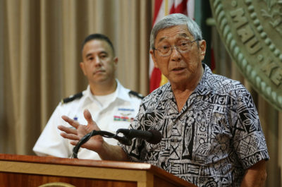 Mayor Harry Kim shares input about HIEMA report during press conference at Governor David Ige's office.