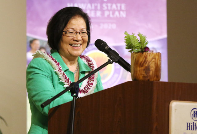 U.S. Sen. Mazie Hirono speaks after receiving the 2018 Courage Award for her bravery and willingness to continue serving in Congress while battling Stage IV cancer.