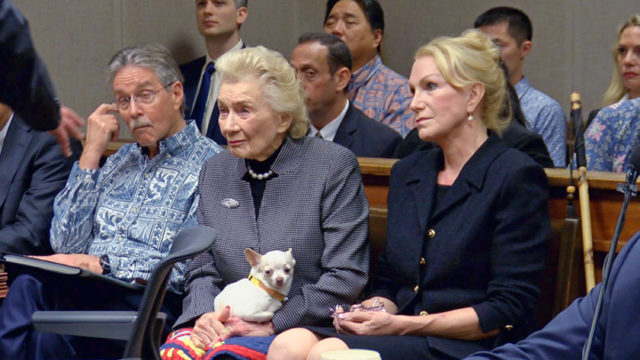 This still image from pool video shows 91-year-old Hawaiian heiress Abigail Kawananakoa, left, and her wife, Veronica Gail Worth, in a Honolulu courtroom Thursday, March 15, 2018. A judge has ruled that allegations that Worth physically abused Kawananakoa require further investigation. Thursday's ruling came in the ongoing legal fight for control over Kawananakoa's $215 million trust. Many Native Hawaiians consider her to be the last Hawaiian princess because of her lineage. (Hawaii News Now via AP, Pool)