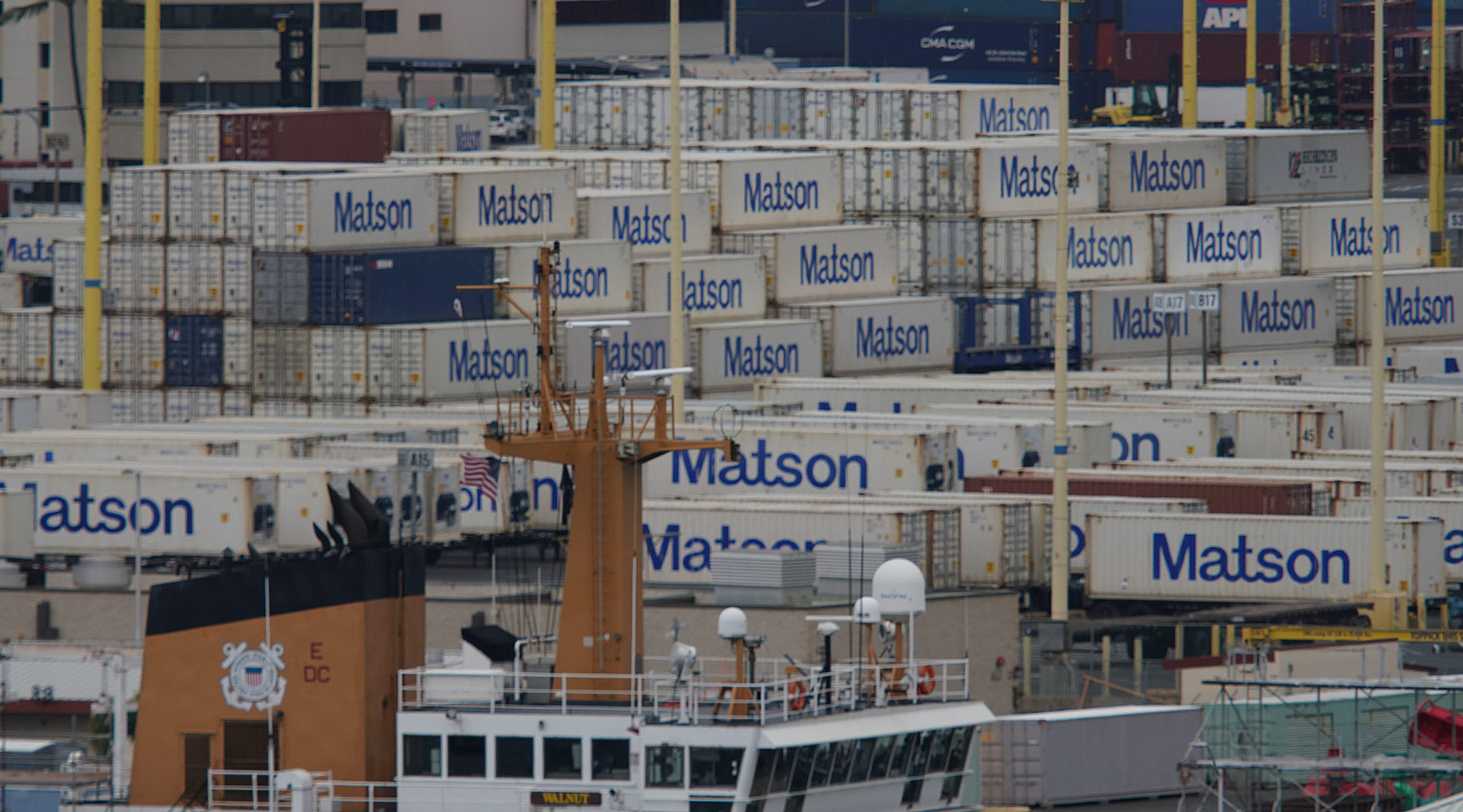 Matson containers Sand Island Honolulu Harbor.
