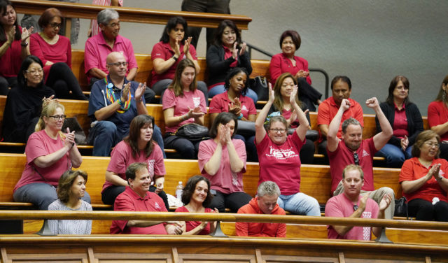 HSTA Teachers and Staff jubilate after vote passed in their favor thru the senate.