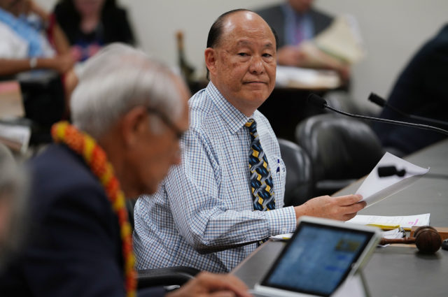 Senator Chair Brian Taniguchi 130p conference committee meeting with colleague left, Sen Mike Gabbard in room 329.