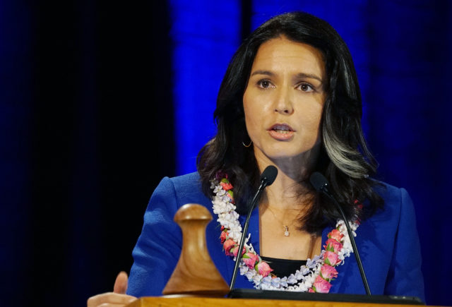 Congresswoman Tulsi Gabbard speaks during the 2018 Hawaii Democratic Convention held at the Hilton Waikaloa in Kona, Hawaii.