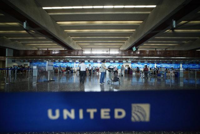 Daniel Inouye International Airport United airlines checkin area.