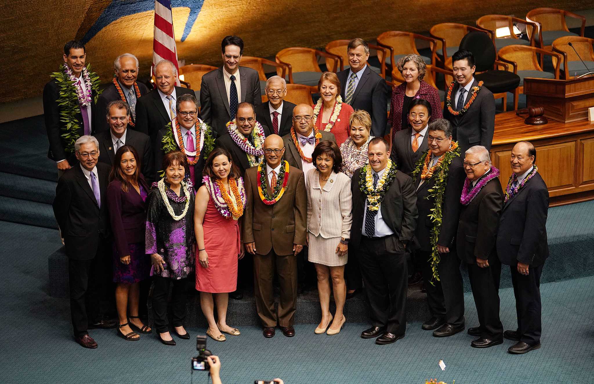 <p>On likely their final day all together, state senators gather for a group photograph.</p>